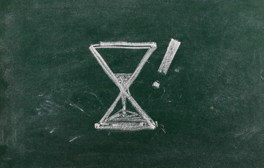 Hourglass with exclamation mark drawn on chalkboard, blackboard background, texture