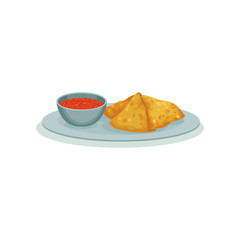 Samosa, traditional Indian street food vector Illustration on a white background