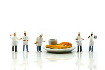 Miniature people : Chef cooking with friend,Food concept.