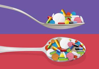 une cuillère de médicaments de toutes sortes pour symboliser la sur consommation et les risques sur la santé