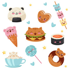 Cute Kawaii food cartoon characters set, desserts, sweets, fast food vector Illustration on a white background