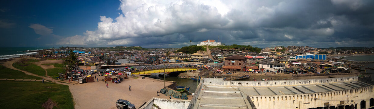 Aerial view to Coenraadsburg fortress from the roof of Elmina castle, Ghana