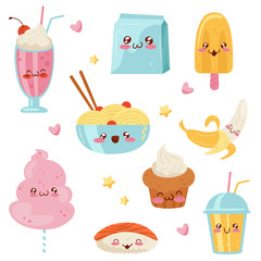 Cute Kawaii food cartoon characters set, desserts, sweets, sushi, fast food vector Illustration on a white background