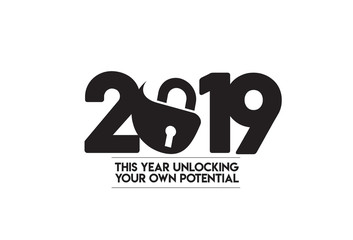 Happy New Year 2019 Text with Cyber Lock security design, Vector illustration.