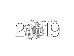 Happy New Year 2019 Text Design Future Patter, Vector illustration.