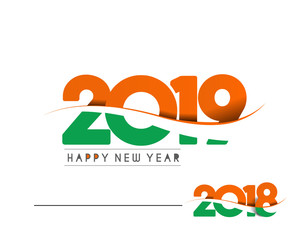 Happy new year 2019 with Indian Flag Text Design  patterVector illustration