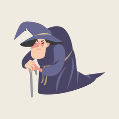 Fairy tale character. Old witch in cartoon style.