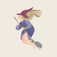 Fairy tale character. Young witch in cartoon style