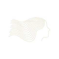 woman girl line outline illustration logo vector icon decoration element background