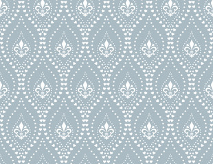 The geometric flower pattern with wavy lines, points. Seamless vector background. White and blue texture. Simple lattice graphic design