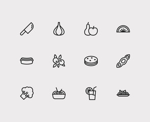 Nutrition icons set. Noodle and nutrition icons with garlic, broccoli and biscuit. Set of cooked for web app logo UI design.