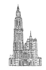 Fototapete - Vector sketch of Cathedral of Our Lady, Antwerp, Belgium