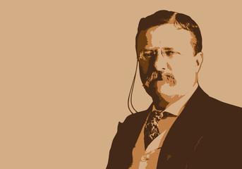 Portrait de Théodore Roosevelt, célèbre président des États-Unis du début du 20ème siècle