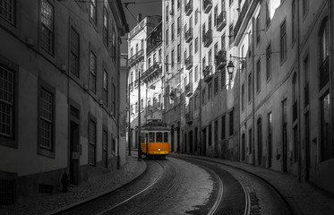 Yellow 28 Tram. Exposure in the streets of Lisbon and its famous Tram 28 in black and white.