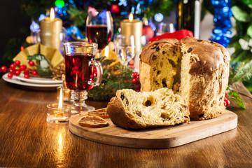 Christmas panettone cake with raisins and fruits