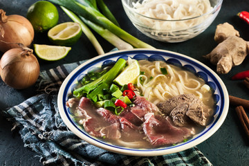 Pho Bo - raw beef noodle soup