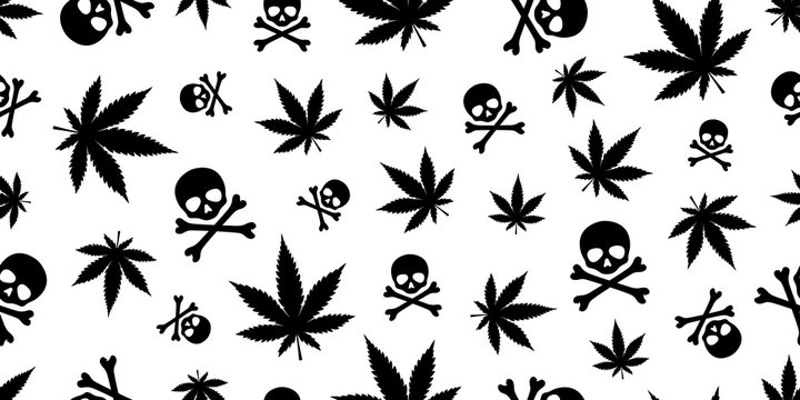 Marijuana seamless pattern skull vector pirate Weed cannabis leaf Halloween scarf isolated tile background repeat wallpaper
