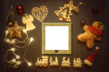 Empty picture frame Christmas greeting card