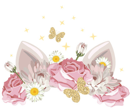 cute catroon character with floral wreath and golden glitter elements. For birthday, baby shower, clothes and posters design.