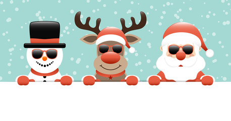 Snowman, Rudolph & Santa Sunglasses Banner Snow Retro
