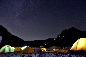 Starry Sky in Mt. Tsurugidake's camp site, Toyama, Japan Alps