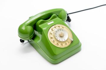 Telefono verde a cavo vintage, fuoco selettivo