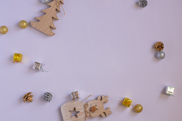 Holiday Background with silver and gold gift boxes