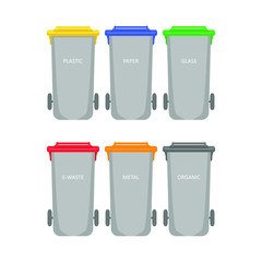 Multi-colored garbage containers for different garbage and waste. Waste bins for sorting and recycling isolated on white background. Vector.