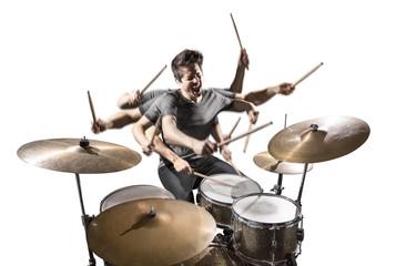 Schlagzeuger mit vielen Armen isoliert auf weiß