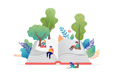 Book festival concept - a group of tiny people reading a huge open book. Vector illustration, poster and banner