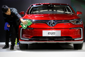 BAIC Group automobile maker seen at the IEEV New Energy Vehicles Exhibition in Beijing
