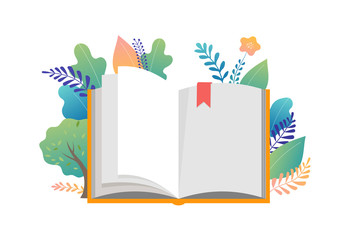 Book festival concept - a group of tiny people reading a huge open book. Vector illustration, poster and banner Wall mural
