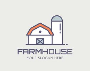 Farm House colored outline logo. Vector line icon.