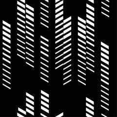 Abstract geometric seamless pattern with vertical fading lines, tracks, halftone stripes. Black background.