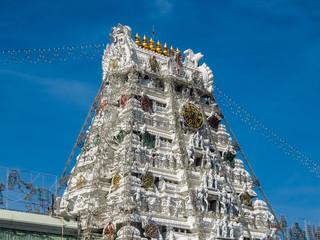 Balaji temple at Tirumala hill. The most visited place of Hindu pilgrimage. Sri Venkateswara Swamy Vaari Temple, Tirumala, Tirupati.