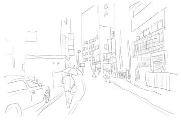 雨のストリート、日本、東京の街並み。傘をさす人たち。線画、塗りなしイラスト