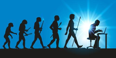 parodiant la théorie de l'évolution de Darwin, l'homme avance et progresse jusqu'a l'ordinateur