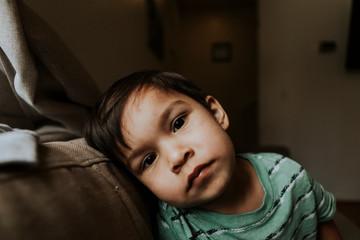 Skeptical face portrait of a kid
