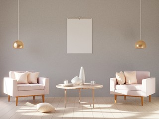 Modern minimalistic interior with an armchair. 3D render.