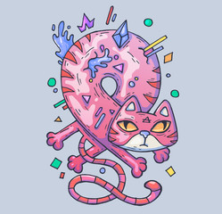 funny pink cat twisted into a loop. Cartoon illustration for web and print.