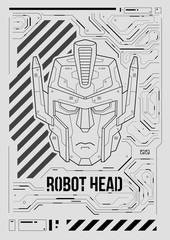 Futuristic poster with a robot head. Template for web and print. Brochure and flyer Layout.