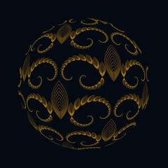 abstract sphere with Edwardian style pattern in gold black