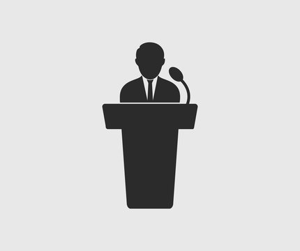 Speaker icon on gray background. Flat style Vector EPS.