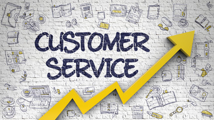 Customer Service Drawn on White Wall. 3d.