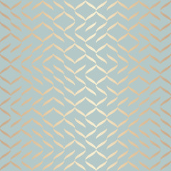 Seamless vector geometric golden element pattern. Abstract background copper texture on blue green. Simple minimalistic graphic print. Modern turquoise trellis grid. Trendy wrapping paper design.