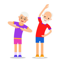 OLd people exercising. Elderly couple does gymnastics and sport. Active healthy workout aged men and women. Grandparents making morning exercises. Flat style illustration isolated on a white