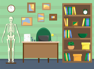 Doctor's office with a bookcase and a skeleton. Desk with a lamp, a pile of papers and a laptop. Vector illustration.