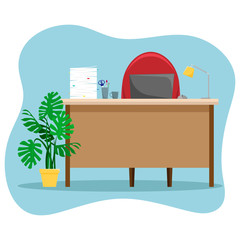 Desk with a lamp, a pile of papers and a laptop. Vector illustration..