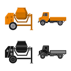 Vector illustration of build and construction logo. Collection of build and machinery vector icon for stock.