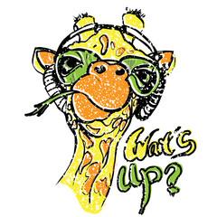 Giraffe vector illustration for t-shirt. Portrait of safari giraffe in funny glasses